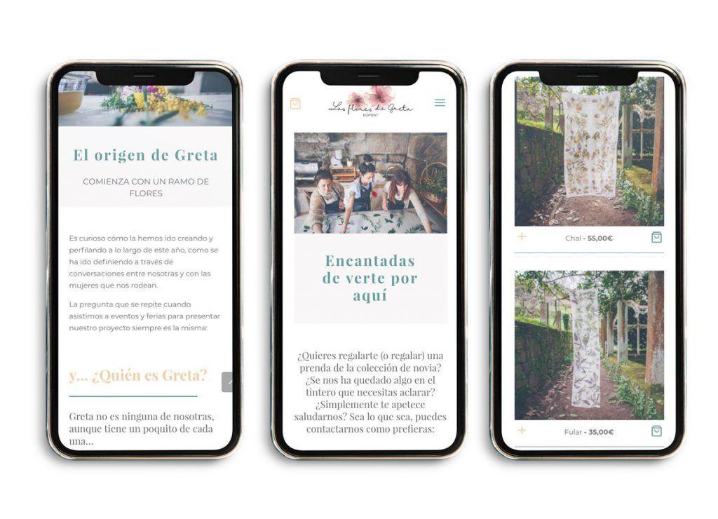 Mockup diseño web Las Flores de Greta, versión móvil